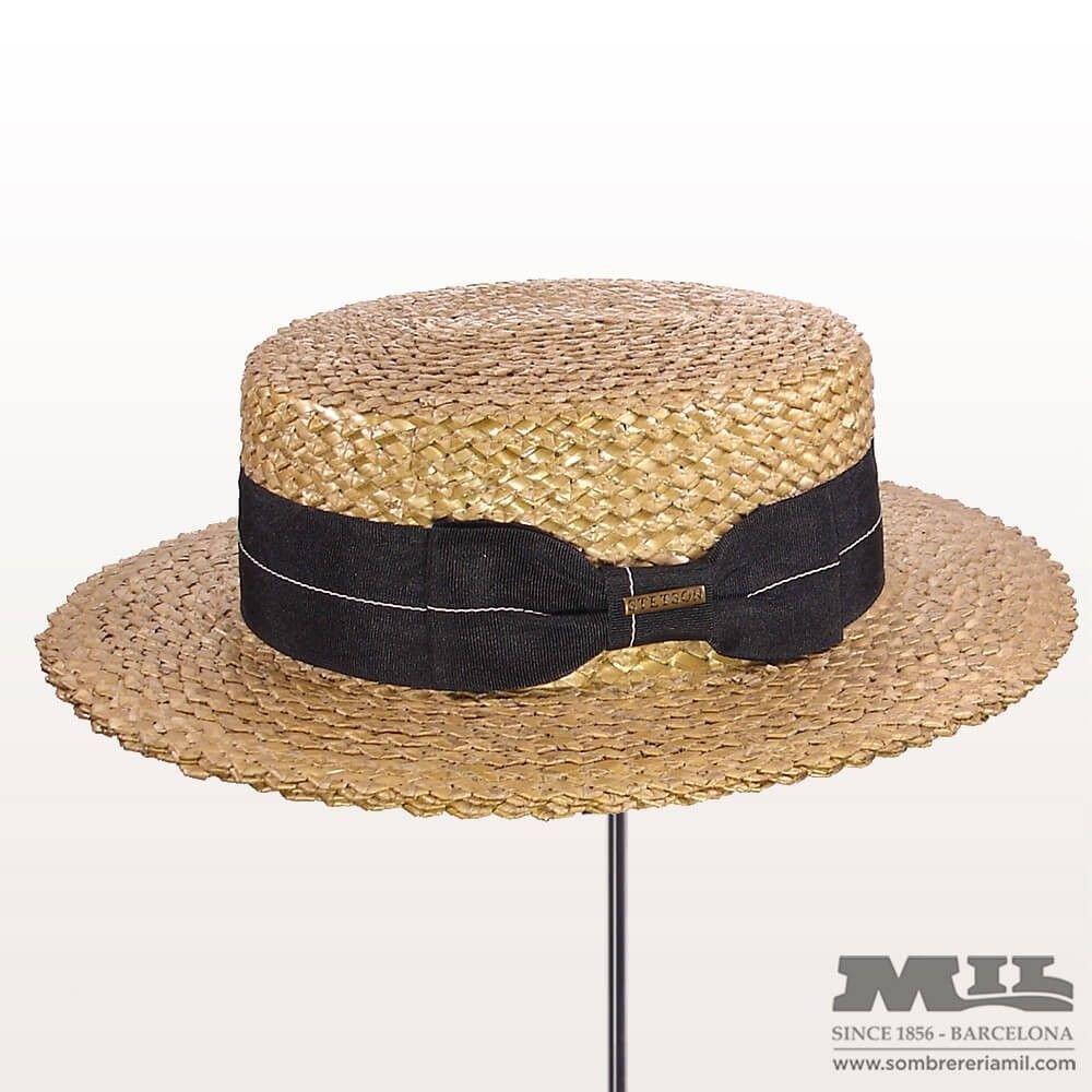 Sombrero canotier de la marca Stetson con cinta ancha de color negro 9de0af731498