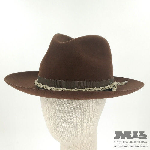 Brown Fedora hat with rope